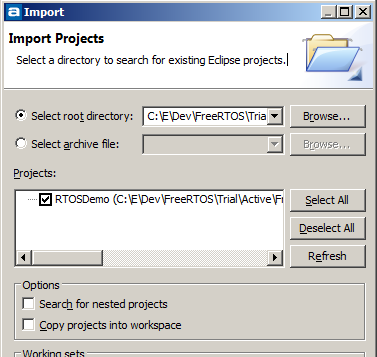 Selecting the RTOS STM32 project to import into Eclipse